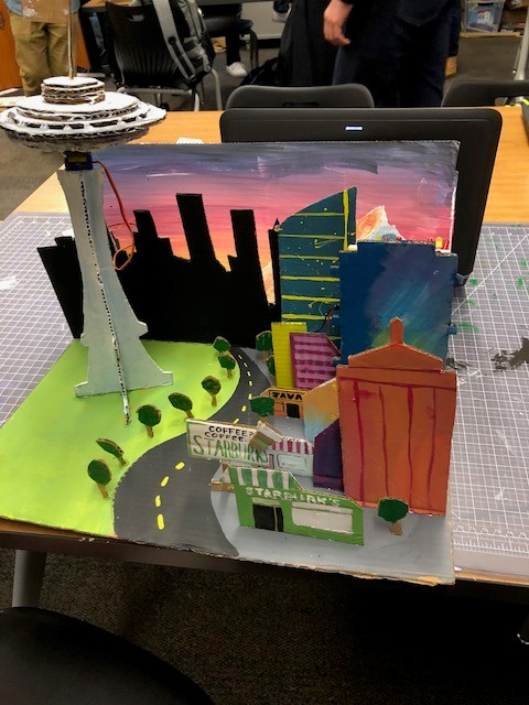 painted 3D city with servo spinnig Space Needle